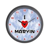 I Love Marvin (Red/Blk) Valentine Wall Clock