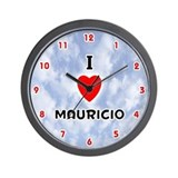I Love Mauricio (Red/Blk) Valentine Wall Clock