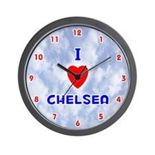 I Love Chelsea (Red/Bl) Valentine Wall Clock
