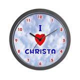 I Love Christa (Red/Bl) Valentine Wall Clock