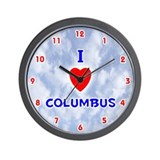 I Love Columbus (Red/Bl) Valentine Wall Clock
