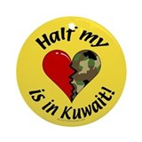 Half my heart is in Kuwait Keepsake (Round)