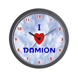 I Love Damion (Red/Bl) Valentine Wall Clock