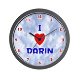 I Love Darin (Red/Bl) Valentine Wall Clock