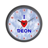 I Love Deon (Red/Bl) Valentine Wall Clock