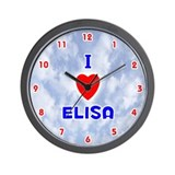 I Love Elisa (Red/Bl) Valentine Wall Clock