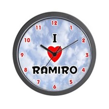 I Love Ramiro (Red/Blk) Valentine Wall Clock