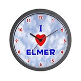 I Love Elmer (Red/Bl) Valentine Wall Clock