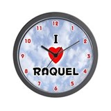 I Love Raquel (Red/Blk) Valentine Wall Clock