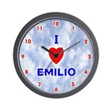 I Love Emilio (Red/Bl) Valentine Wall Clock