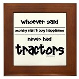 Funny Pink tractor Framed Tile