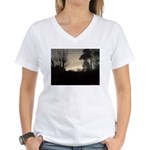 Misty Winter Sky Women's V-Neck T-Shirt