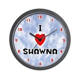 I Love Shawna (Red/Blk) Valentine Wall Clock