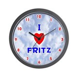 I Love Fritz (Red/Bl) Valentine Wall Clock