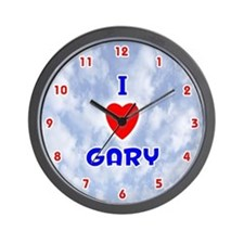 I Love Gary (Red/Bl) Valentine Wall Clock