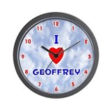 I Love Geoffrey (Red/Bl) Valentine Wall Clock