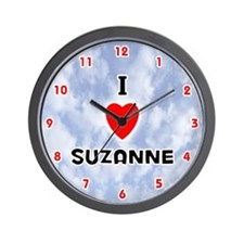 I Love Suzanne (Red/Blk) Valentine Wall Clock
