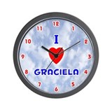 I Love Graciela (Red/Bl) Valentine Wall Clock