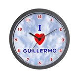 I Love Guillermo (Red/Bl) Valentine Wall Clock