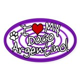 Hypno I Love My Dogo Argentino Oval Sticker Purp