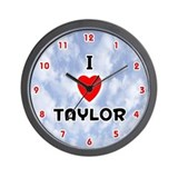 I Love Taylor (Red/Blk) Valentine Wall Clock