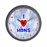 I Love Hans (Red/Bl) Valentine Wall Clock