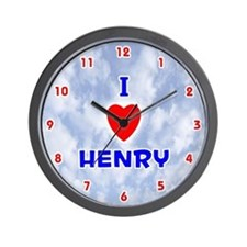 I Love Henry (Red/Bl) Valentine Wall Clock