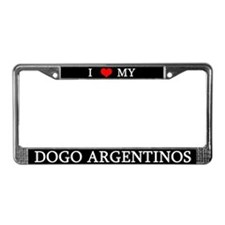 Love Dogo Argentinos License Plate Frame