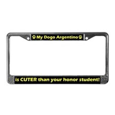 Honor Student Dogo Argentino License Plate Frame