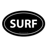 Surf Auto Bumper Sticker -White (Oval)