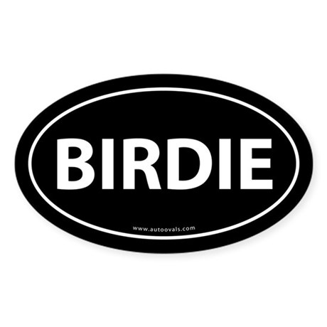 Birdie Golf Bumper Sticker -Black (Oval)