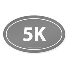 5K Runner Bumper Sticker -Black (Oval)