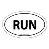 Run Auto Bumper Sticker -White (Oval)