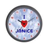 I Love Janice (Red/Bl) Valentine Wall Clock