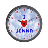 I Love Jenna (Red/Bl) Valentine Wall Clock