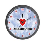 I Love Zachariah (Red/Blk) Valentine Wall Clock