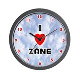 I Love Zane (Red/Blk) Valentine Wall Clock