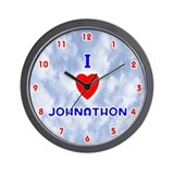 I Love Johnathon (Red/Bl) Valentine Wall Clock