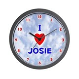 I Love Josie (Red/Bl) Valentine Wall Clock