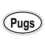 PUGS Oval Bumper Stickers
