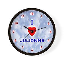 I Love Julianne (Red/Bl) Valentine Wall Clock