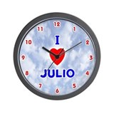I Love Julio (Red/Bl) Valentine Wall Clock