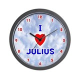 I Love Julius (Red/Bl) Valentine Wall Clock