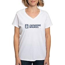 JAPANESE SPANIEL Womens V-Neck T-Shirt