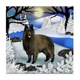 Belgian Tervuren Dog Frozen River Tile Coaster