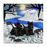 SCOTTISH TERRIER DOGS FROZEN RIVER Tile Coaster
