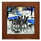 AUSTRALIAN CATTLE DOGS FROZEN RIVER Framed Tile