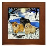 CHOW CHOW DOGS FROZEN RIVER Framed Tile