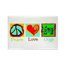 Peace Love Dogs Rectangle Magnet (10 pack)