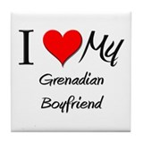I Love My Grenadian Boyfriend Tile Coaster